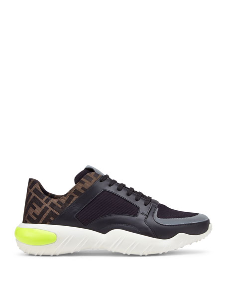 Fendi Men's FF Logo Stretch-Knit/Leather Chunky Sneakers
