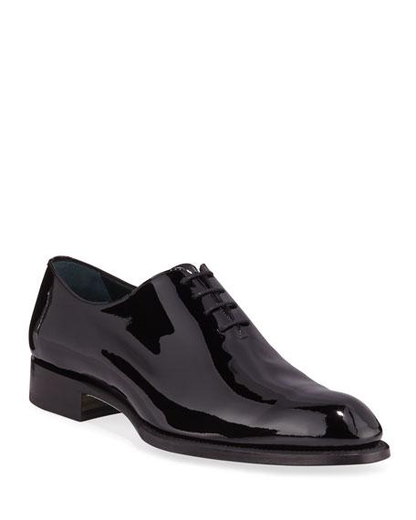 Brioni Shoes Men's Cardinal Whole-Cut Patent Leather Dress Shoes