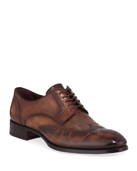 Brioni Men's Wing-Tip Leather Derby Shoes