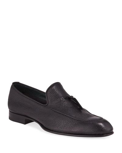 Men's Tie-Front Deerskin Leather Loafer