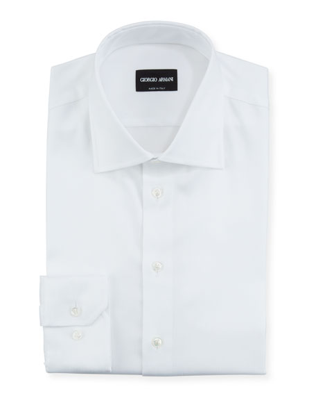 Image 1 of 2: Giorgio Armani Men's Herringbone Dress Shirt