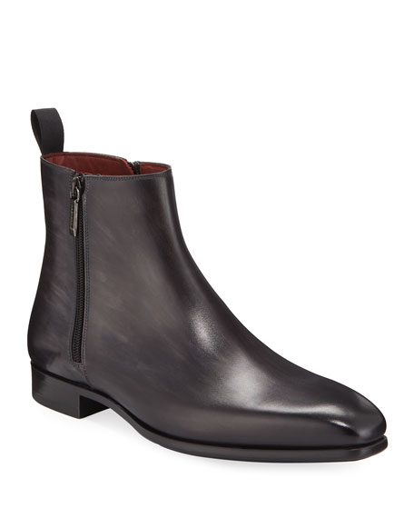 Magnanni Men's Double-Zip Leather Ankle Boots