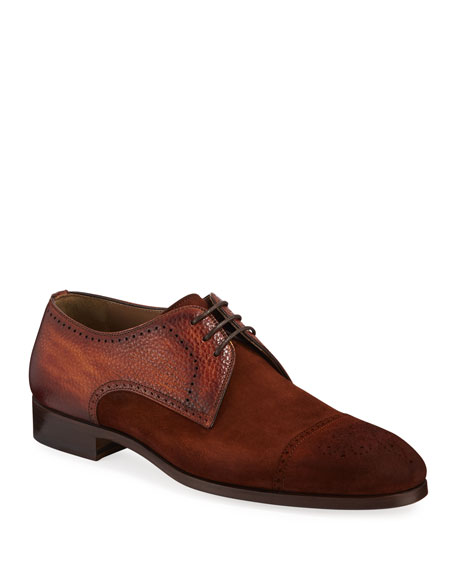 Magnanni Men's Brogue Suede/Leather Derby Shoes