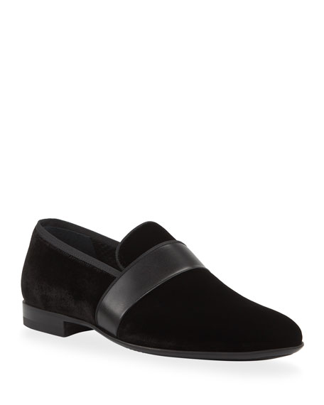 Magnanni Men's Velvet Loafers with Leather Strap