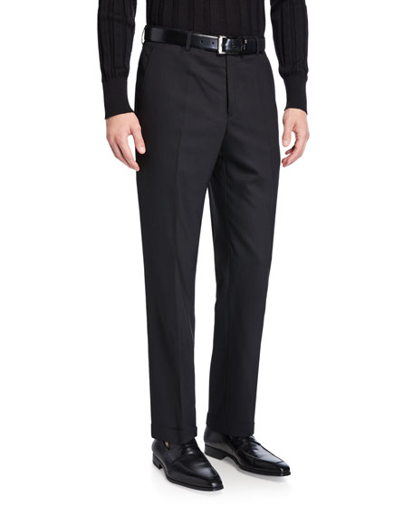 Santorelli Men's Straight-Leg Twill Dress Pants