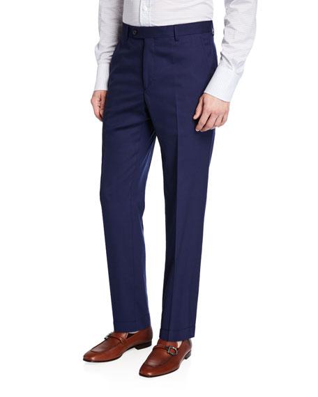 Santorelli Men's Straight-Leg Twill Dress Pants