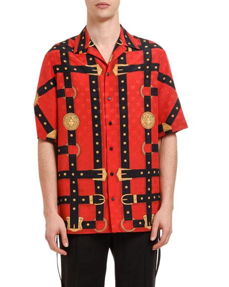 Versace Men's Harness Graphic Silk Sport Shirt