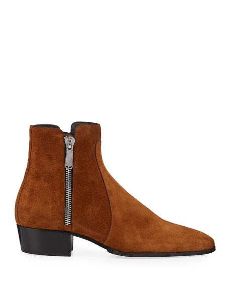 Balmain Men's Calf Suede Zip-Up Ankle Boots