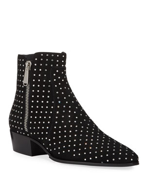 5e1b6f26ab7 Balmain Men s Goat Suede Studded Ankle Boots