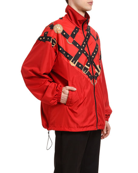 Versace Men's Harness-Graphic Wind-Resistant Jacket
