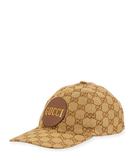 Gucci Men's GG Canvas Baseball Hat with Leather Logo Patch