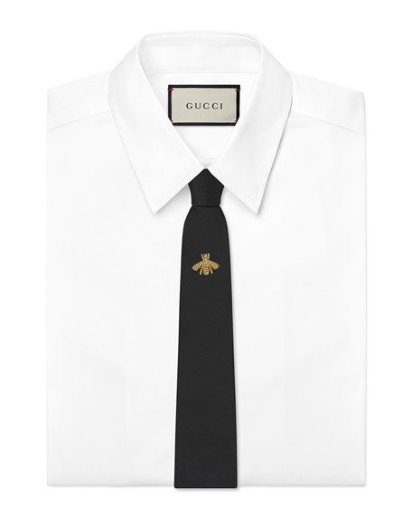 Gucci Bee-Embroidered Silk Tie