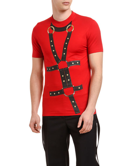 Versace Men's Slim-Fit Harness Graphic Crewneck T-Shirt