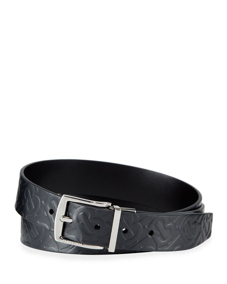 Burberry Men's Clarke Logo-Embossed/Smooth Leather Reversible Belt