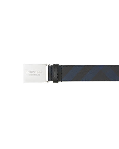 Burberry Men's Signature Check Logo Plaque Belt