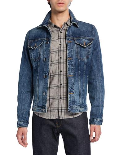Men's L'Homme Vein-Wash Denim Jacket
