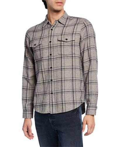 Men's Two-Tone Plaid Shirt Jacket