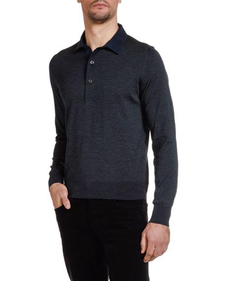 TOM FORD Men's Knit Long-Sleeve Polo Shirt