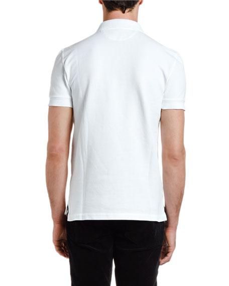 TOM FORD Men's Pique-Knit Polo Shirt, White