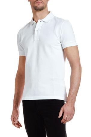 TOM FORD Men's Pique-Knit Polo Shirt, White $390.00