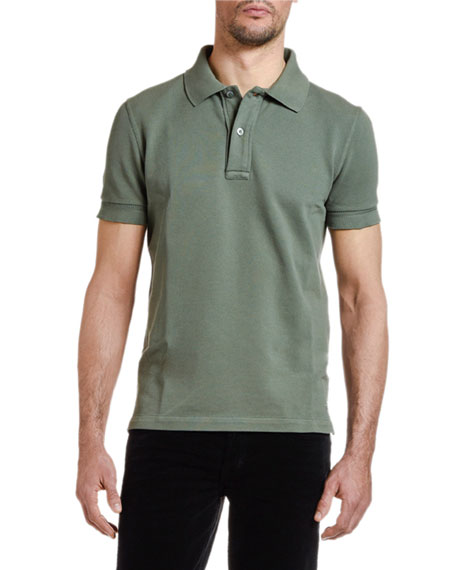 TOM FORD Men's Pique-Knit Polo Shirt, Green