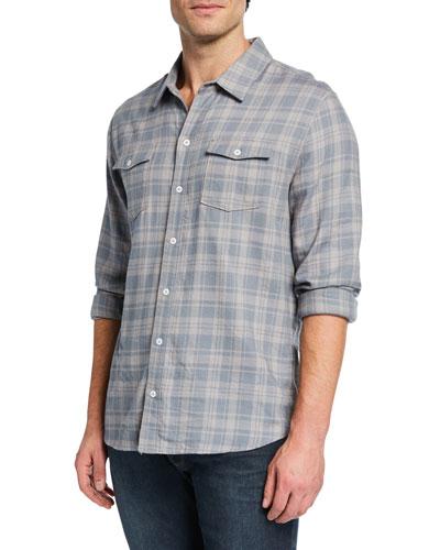 Men's Long-Sleeve Contemporary Plaid Sport Shirt