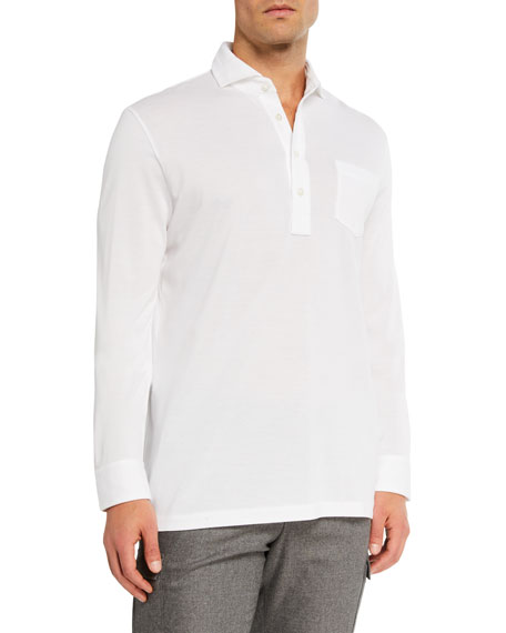 Ralph Lauren Purple Label Men's Washed Long-Sleeve Pocket Polo Shirt, White