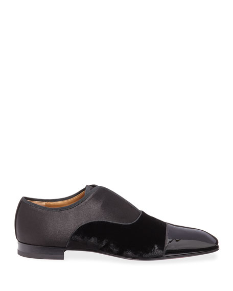 Christian Louboutin Men's Alpha Male Tonal Patent Leather & Suede Slip-On Shoes