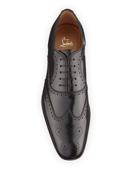 Christian Louboutin Men's Cousin Platerissimo Brogue Leather Oxford Shoes