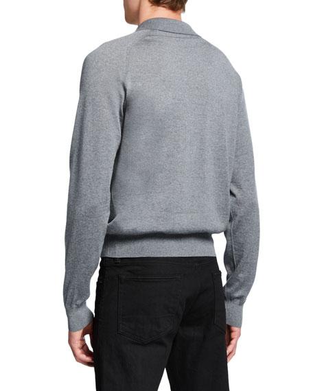 THE ROW Men's Dylan Wool Long-Sleeve Polo Shirt