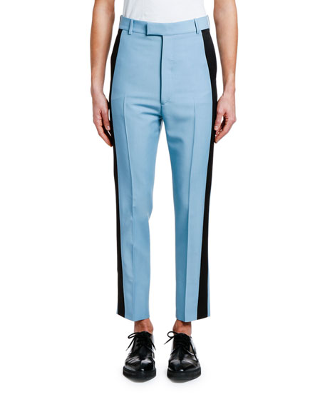 Alexander McQueen Men's Cropped Trousers with Tuxedo Stripes