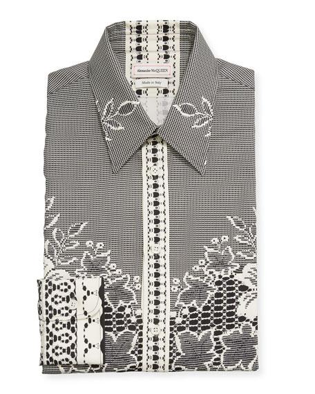 Alexander McQueen Men's Lace-Print Silk Dress Shirt