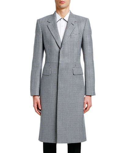 Men's Glen Plaid & Houndstooth Wool Coat