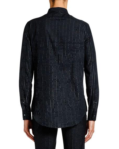 Alexander McQueen Men's Metallic Pinstriped Sport Shirt