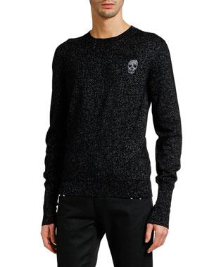 e78f5172cce8 Alexander McQueen Men s Metallic Crewneck Sweater with Skull Detail