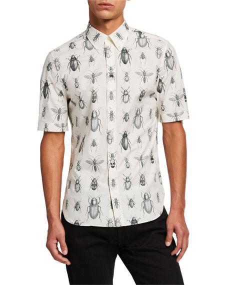 Alexander McQueen Men's Bug-Print Short-Sleeve Sport Shirt