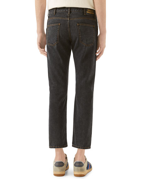 Gucci Men's Embroidered Washed Denim Jeans