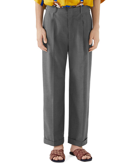 Gucci Men's Wide-Leg Cuffed Trousers