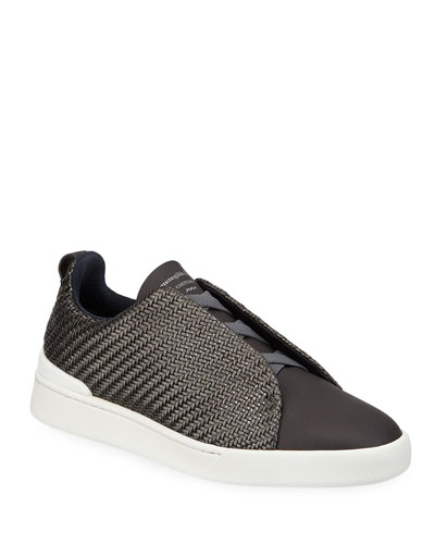Men's Woven Leather Low-Top Sneakers