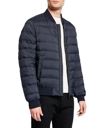 Men's Denim-Style Puffer Bomber Jacket