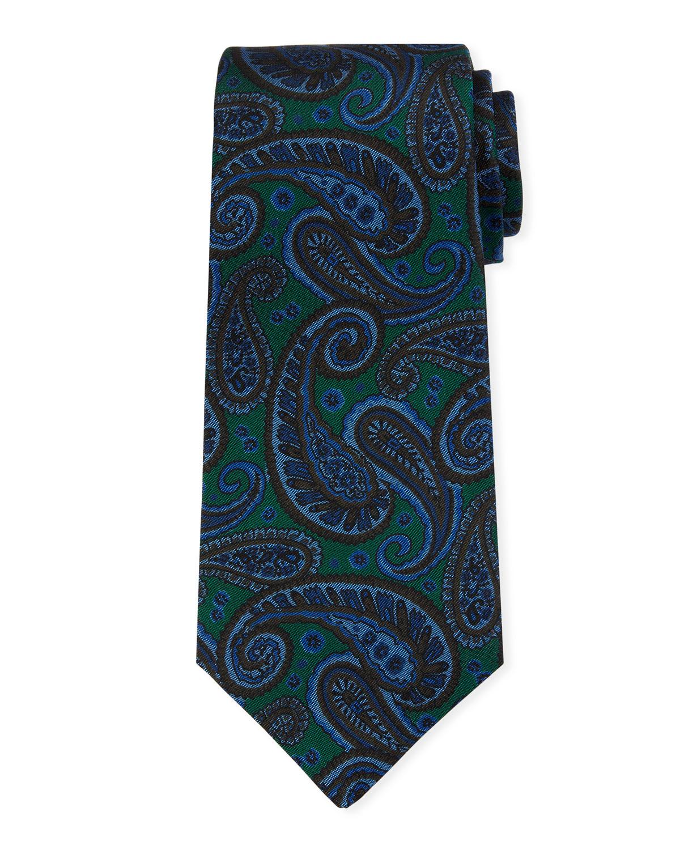 Kiton Napoli Mens Blue with Green Paisley Motif Seven Fold Handmade Silk Necktie