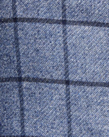 Kiton Men's Windowpane Silk/Cashmere Three-Button Jacket