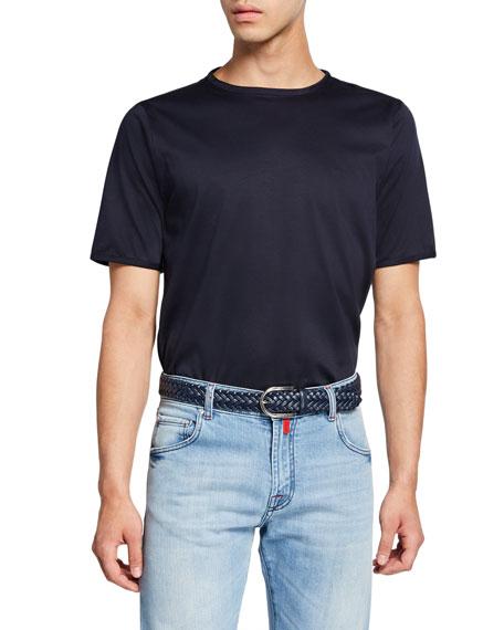 Kiton Men's Crewneck Short-Sleeve Cotton T-Shirt, Navy
