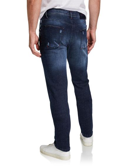 Kiton Men's Distressed Overstitch Jeans