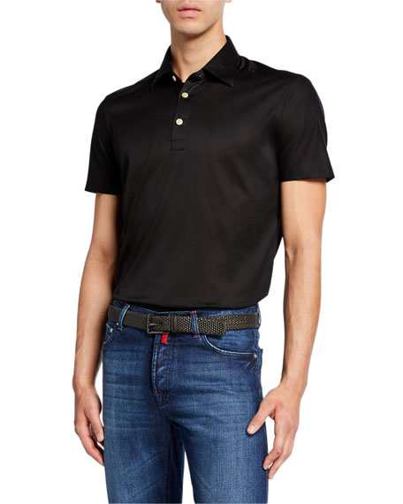 Kiton Men's Jersey Cotton Polo Shirt, Black