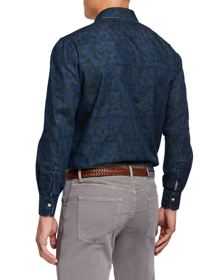 Kiton Men's Cotton Paisley-Print Sport Shirt