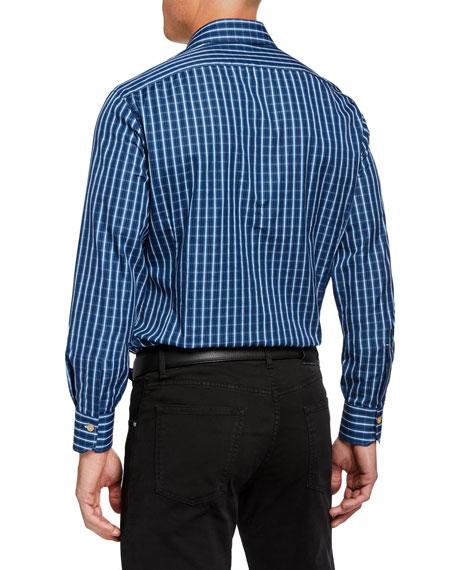 Kiton Men's Long-Sleeve Check Sport Shirt