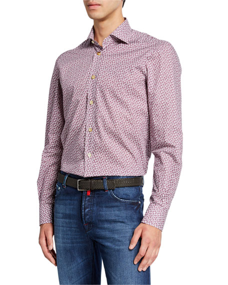 Kiton Men's Micro Floral Cotton Shirt