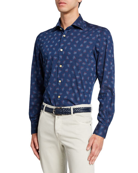 Kiton Men's Chambray Shirt with Paint Strokes