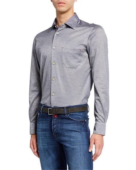 Kiton Men's Jersey Cotton Shirt, Gray